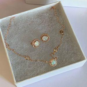 Rose gold plated opal necklace set